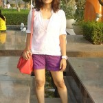 OOTD : Purple Shorts with White Cotton Shirt
