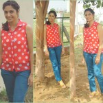 Outfit Of The Day: Polka Dot Orange with Blues!!