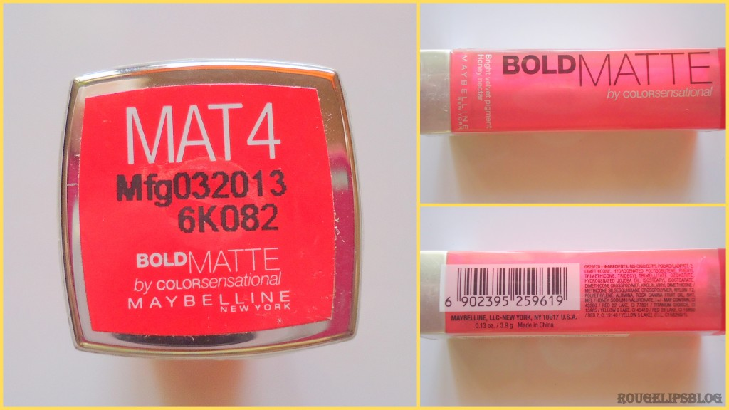 Maybelline BOLD Matte Lipstick in the Shade MAT 4!!