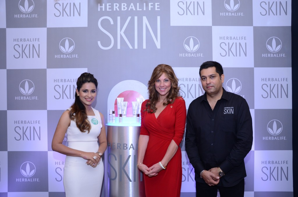 """Heena Sidhu, ace Indian pistol shooter; Jacquie Carter, Director, Outer Nutrition, Herbalife and Ajay Khanna, Vice President and Country Head, Herbalife International India Pvt. Ltd launched the new range of skincare line of products """" Herbalife SKIN"""""""