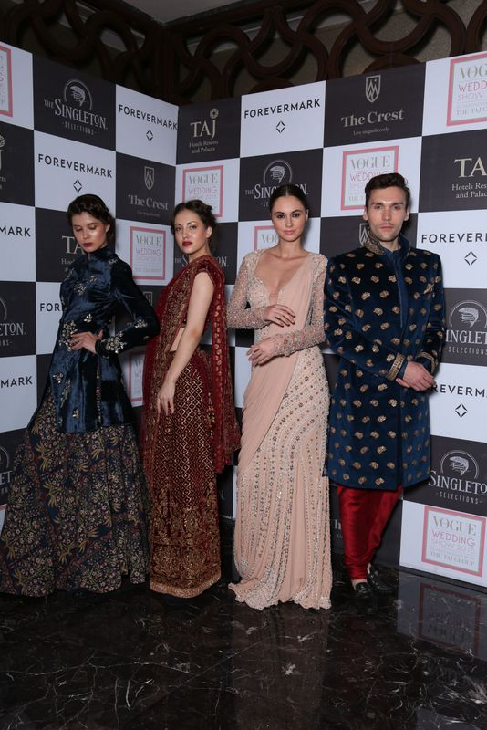 Models in Anju Modi, Ritu Kumar, Monisha Jaising & Shantanu and Nikhil's creation at Day 1 of Vogue Wedding Show 2015 at Taj Palace, New Delhi - Copy