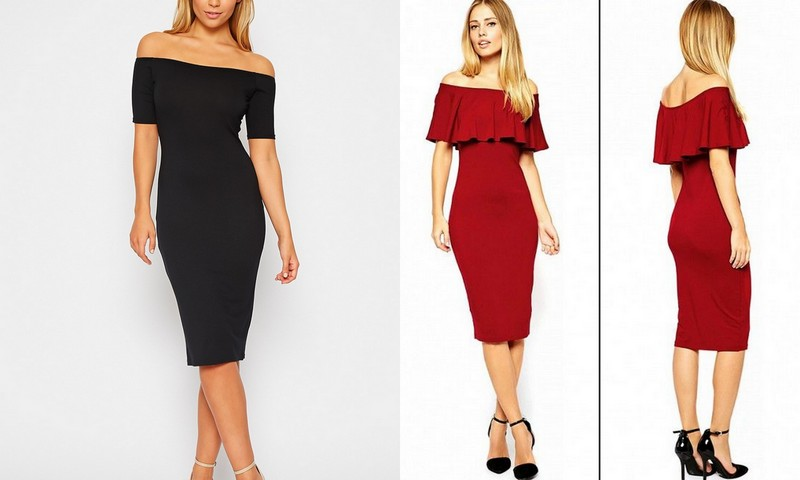 Bardot Dresses! Image Source - Left - prettylittlething.com and Right - pinterest.com