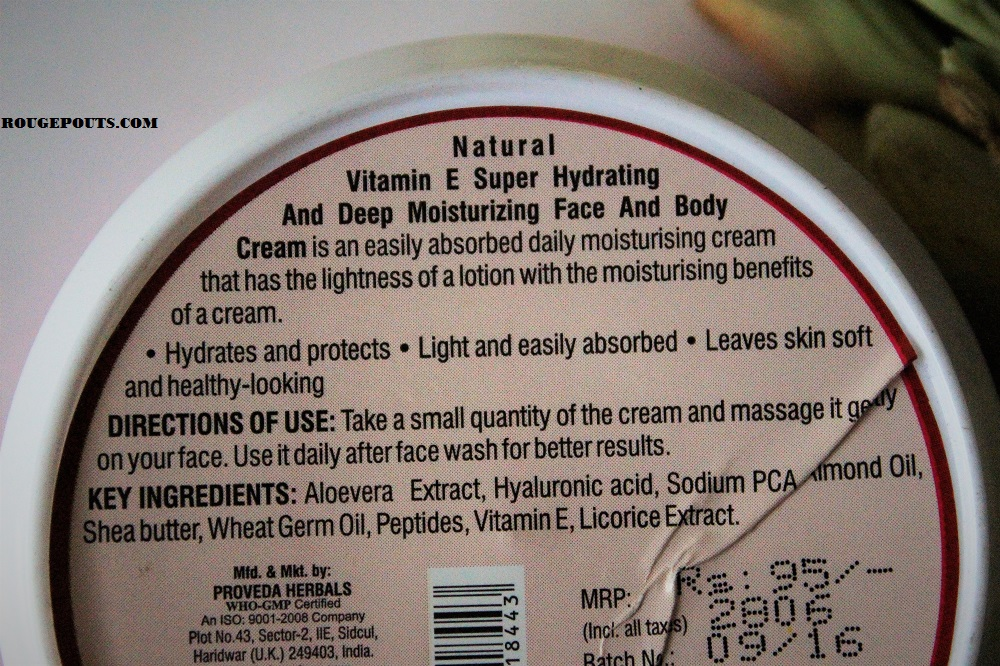 TBC by Nature Natural Vitamin-E Super Hydrating Moisture Cream Review!