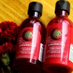 The Body Shop Strawberry Clearly Glossing Shampoo and Conditioner Review | RougePouts